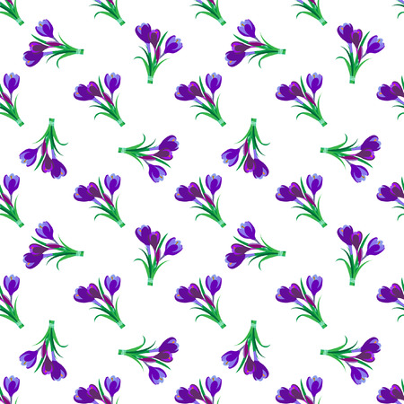 Seamless spring pattern. Crocus, saffron, lily of the valley, snowdrops. Flet design. Vector illustration
