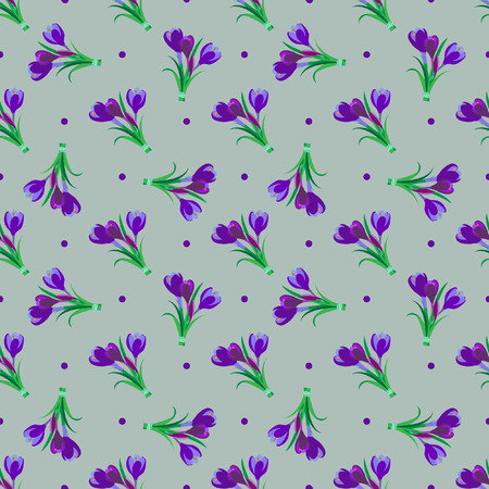 saffron: Seamless spring pattern. Crocus, saffron, lily of the valley, snowdrops. Flet design. Vector illustration