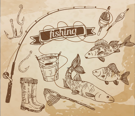 gumboots: The drawn set of fishing Rod, salmon, perch, bucket, fishing hooks, net, float and gumboots