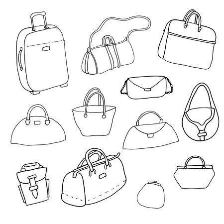 blockhead: Vector sketch. Set of bags. Illustration
