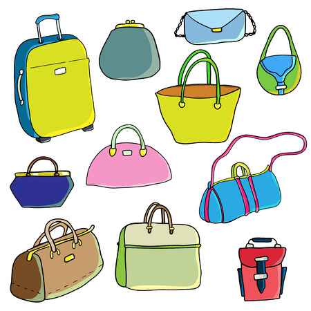 blockhead: Vector color sketch. Set of bags. Illustration