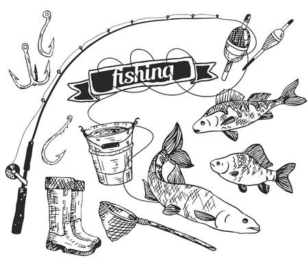 redes de pesca: El vector dibujado establece: la pesca. Rod, el salmón, la perca, el cubo, anzuelos de pesca, red, flotador, botas de goma. Vector Vectores