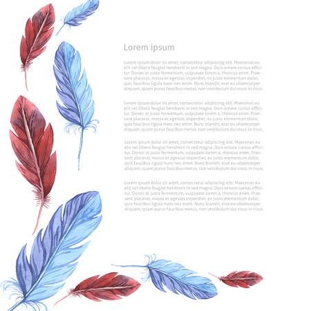 Card template. Watercolor feathers. Vector illustration Иллюстрация