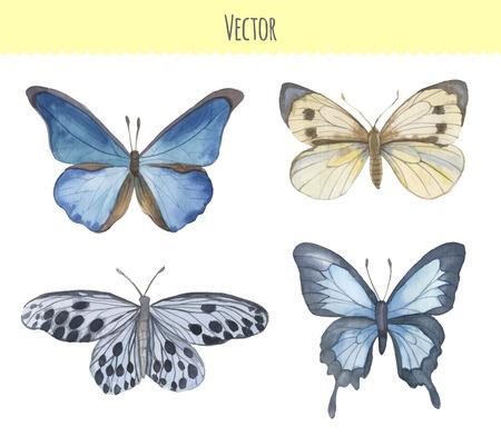 Set of watercolor butterflies. Vector Иллюстрация