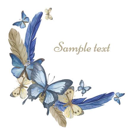 mariposa caricatura: Acuarela mariposas y plumas. Marco redondo, tarjeta. Ilustración vectorial