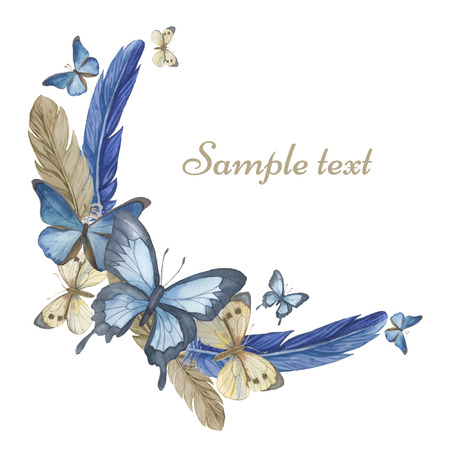 Watercolor butterflies and feathers. Round frame, card. Vector Illustration 矢量图像