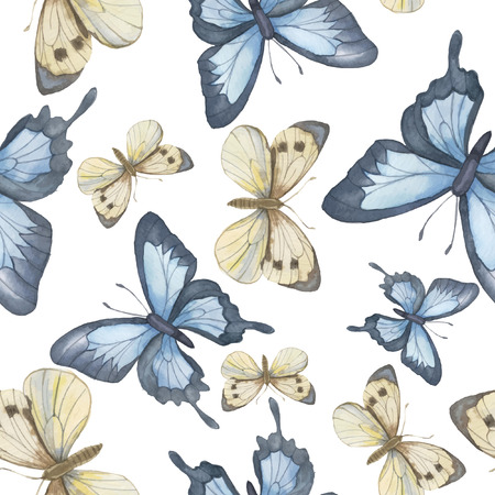 Seamless vector pattern. Watercolor butterfly. Vector