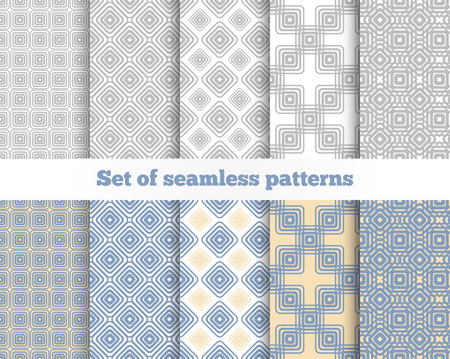 textile  texture: Geometrical seamless pattern. Gray, blue, yellow, beige, square, rhombus. Vector illustration