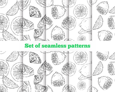 lemon slices: Geometrical seamless pattern. The drawn lemon. 5 black-and-white templates. Vector illustration Illustration