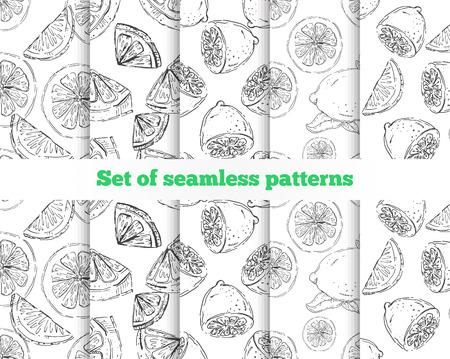 Geometrical seamless pattern. The drawn lemon. 5 black-and-white templates. Vector illustration Иллюстрация