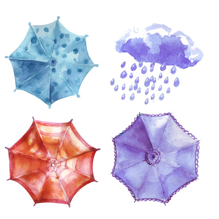 heavy set: Watercolor set of umbrellas,  cloud, heavy rain. Umbrellas from a rain, female umbrellas. Vector illustration Illustration