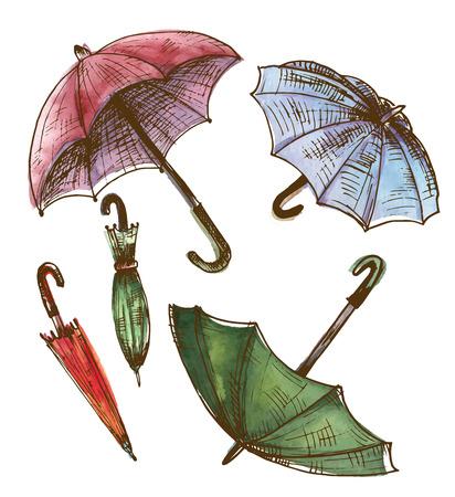 Drawing, watercolor set of umbrellas. Umbrellas from a rain, female umbrellas. Vector illustration Иллюстрация