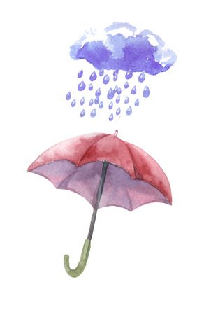 heavy rain: Watercolor set of umbrellas,  cloud, heavy rain. Umbrellas from a rain, female umbrellas. Vector Illustration