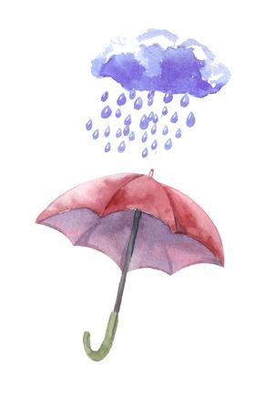 Watercolor set of umbrellas,  cloud, heavy rain. Umbrellas from a rain, female umbrellas. Vector Иллюстрация