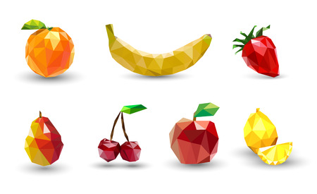 Fruit set of polygons . Apple, lemon , cherry, banana, orange, strawberry and pear. Vector Illustration