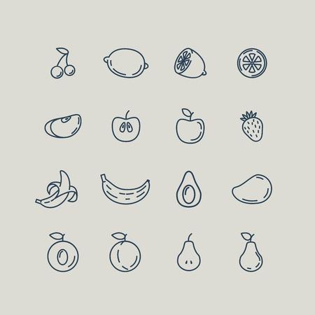 pera: Línea de Set Iconos de la fruta. Plátano, manzana, fresa, cereza, pera, aguacate, mango, limón, melocotón. Ilustración vectorial