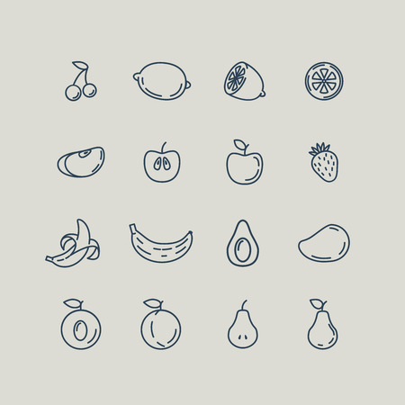 pear: Set line icons fruit. Banana, apple, strawberry, cherry, pear, avocado, mango, lemon, peach. Vector illustration Illustration