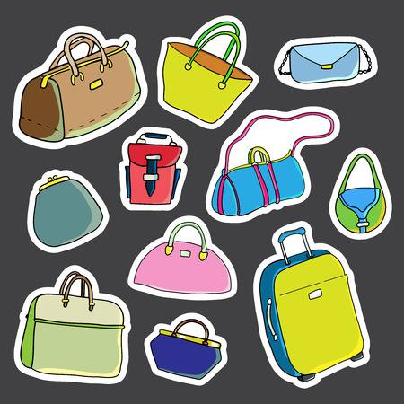 Set of stickers. Women bags. Vector illustration