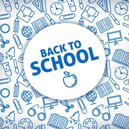 school supplies: Retourner � l'�cole. Un fond blanc. fournitures scolaires Icon. Vector illustration