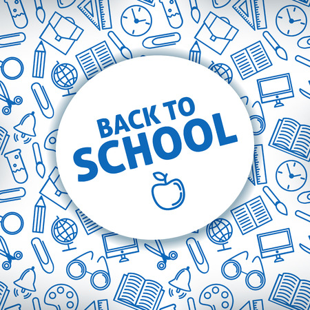 Back to school. A white background. Icon school supplies. Vector illustration