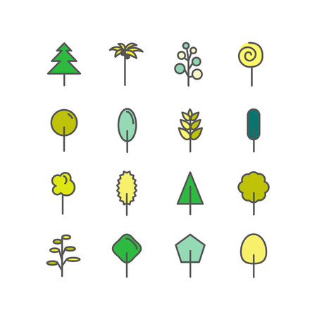 Set of color line icons. Trees: palm tree, fir-tree, oak, pine. White background. Vector illustration