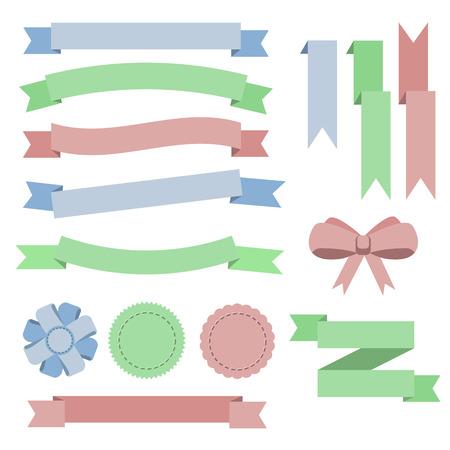 pink bow: Establecer planas de color cintas, insignias, favoritos y el arco. Azul, verde, rojo. Ilustraci�n vectorial Vectores