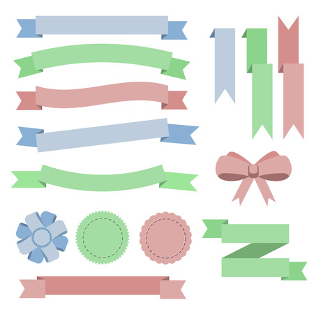 green banner: Set flat color ribbons, badges, bookmarks and bow. Blue, green, red. Vector illustration