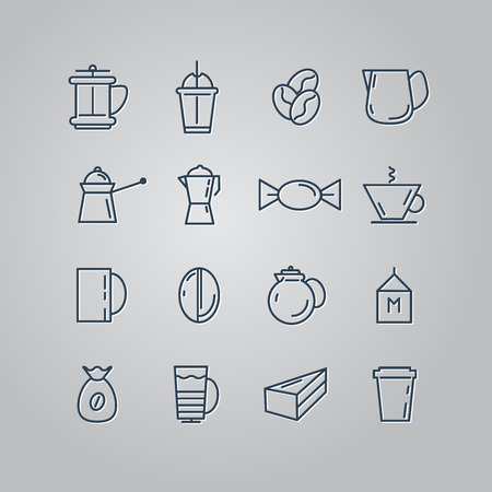 turk: Set of line icons. Coffee, Turk, French press, cup, milk. Vector illustration