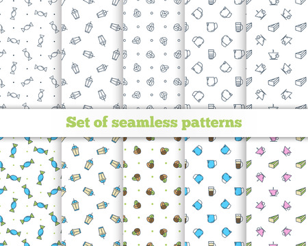 turk: Set seamless patterns. Coffee, Turk, French press, cup, milk. Vector illustration