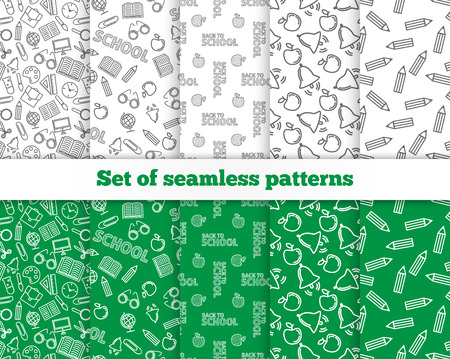 scissors icon: Set of seamless patterns. Back to school. Vector illustration