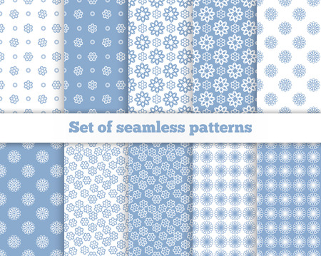 flower patterns: Set of seamless flower patterns. Blue, white, gray. Vector illustration