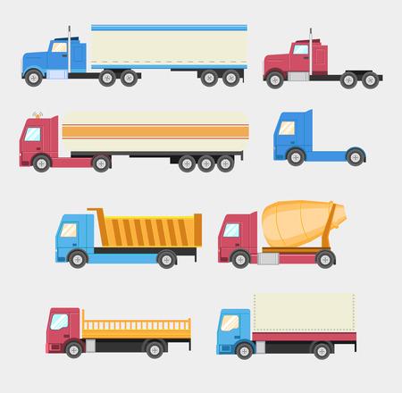 vertedero: Camiones establecen. Iconos vectoriales estilo Flat. EPS10