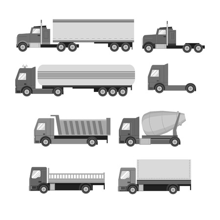 semi trailer: Vector set of trucks. Gray flat icons.  Vector illustration