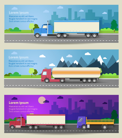 trailers: Set of web banners trucks. Color flat icons. Vector illustration