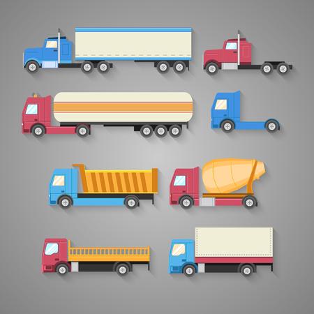camion caricatura: Conjunto de vectores de camiones con una sombra. Colorea iconos planos. Carro de vaciado, el tanque, la gasolina, camión, contenedor. Ilustración vectorial Vectores