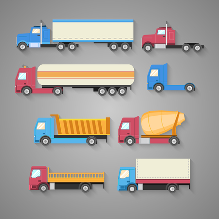 Vector set of trucks with a shadow. Color flat icons. Dump truck, tank, gasoline, truck, container. Vector illustration Illustration