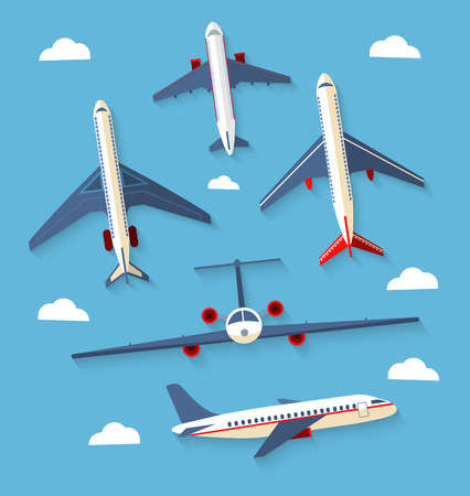 Vector set planes.  Color flat icons with a shadow. Vector illustration Иллюстрация