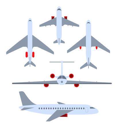 Vector conjunto de aviones. Aviones de pasajeros, el avión, aviones, malezas. Colorea iconos planos. Ilustración vectorial