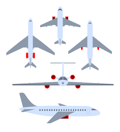 Vector set of planes. Passenger planes, the airplane, aircraft, weeds. Color flat icons. Vector illustration Stock Illustratie