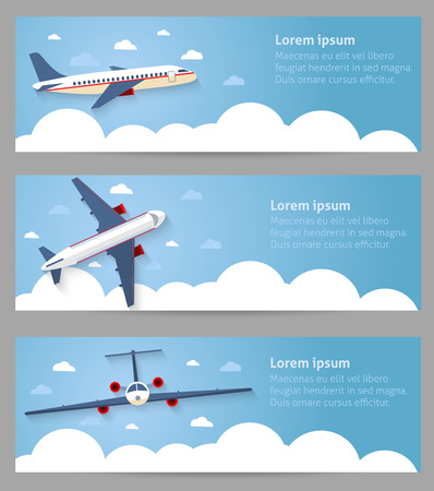 airplane wing: Set of web banners. Flight of the plane in the sky. Passenger planes, airplane, aircraft, flight, clouds, sky, sunny weather. Color flat icons. Vector illustration