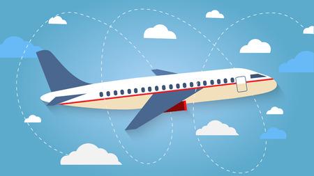 El vuelo del avión en el cielo. Aviones de pasajeros, avión, aviones, vuelo, nubes, cielo, tiempo soleado. Colorea iconos planos. Ilustración vectorial