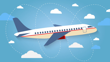 Flight of the plane in the sky. Passenger planes, airplane, aircraft, flight, clouds, sky, sunny weather. Color flat icons. Vector illustration