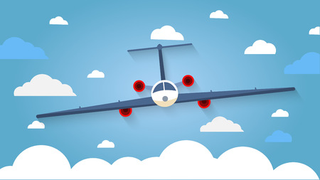 nubes cielo: Flight of the plane in the sky. Passenger planes, airplane, aircraft, flight, clouds, sky, sunny weather. Color flat icons. Vector illustration