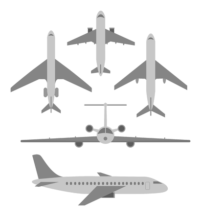 weeds: Vector set of planes. Passenger planes, the airplane, aircraft, weeds. Gray flat icons. Vector illustration