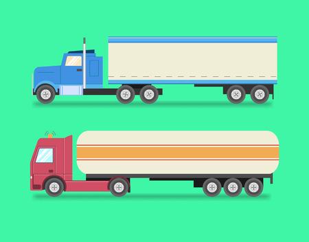 semitrailer: Flat set of icons trucks. Heavy trucks, fuel truck, logistics, land transport, delivery. Vector illustration Illustration