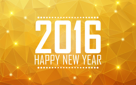 Greeting card Happy New Year 2016. Polygonal background, stars, holiday, shine. Vector illustration