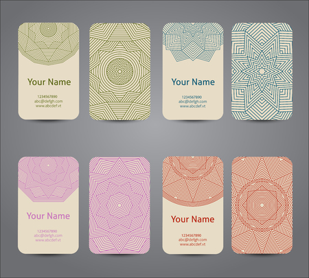 vintage border: Business card. Vintage geometric decorative elements. Hand drawn background. Vector