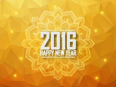 greeting card: Greeting card Happy New Year 2016. Polygonal background, stars, holiday, shine, mandala. Vector illustration Illustration