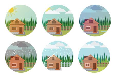 phenomena: Set of weather icons. Illustration of the house, wood and weather phenomena. illustration