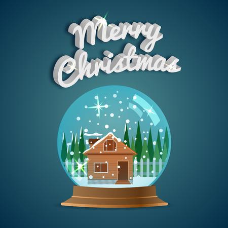 メリークリスマス。グリーティング カード。雪の世界。